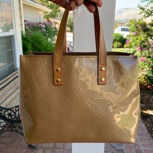 Auth Louis Vuitton Vernis Reade beige tote bag